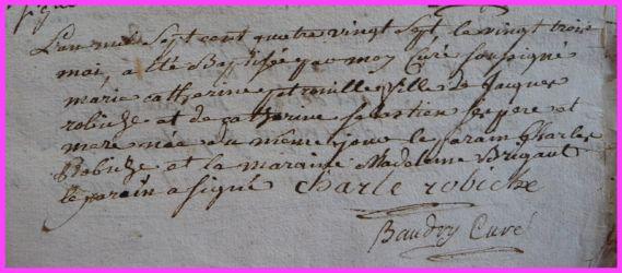 ROBICHE Marie-Catherine Pétronille née 23.05.1787