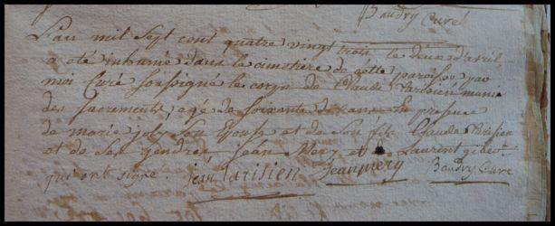 TARISIEN Claude 70 ans dcd 02.04.1783