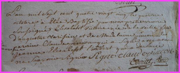 TARISIEN Elisabeth Victoire née 13.10.1785