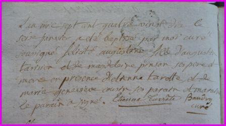 TARISIEN Félicité Augustine née 16.01.1790