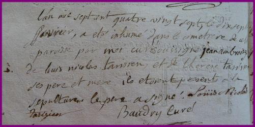 TARISIEN Jean-Ambroise dcd 17.02.1787
