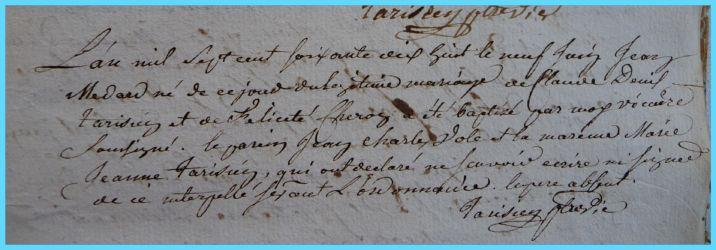 TARISIEN Jean-Médard né 09.06.1778