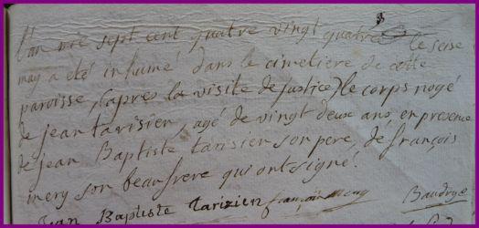 TARISIEN Jean dcd 16.05.1784