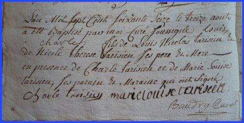 TARISIEN Louis Charles né 13.08.1776