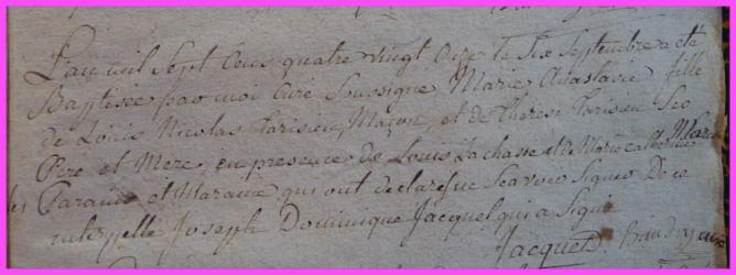 TARISIEN Marie-Anastasie née 06.09.1791