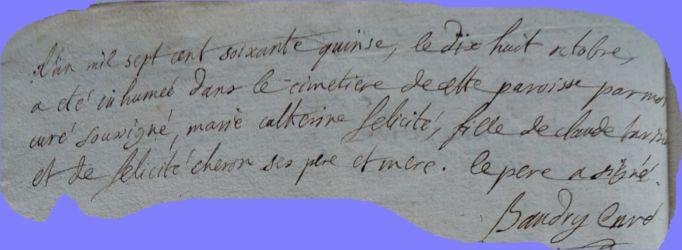 TARISIEN Marie-Catherine 1775-dcd 18.10.1775