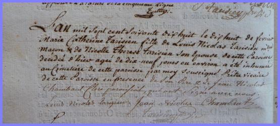 TARISIEN Marie-Catherine dcd 18.02.1778