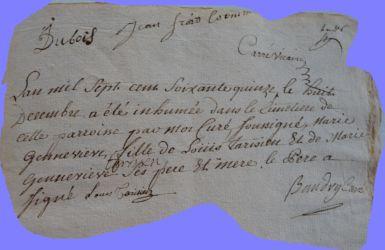 TARISIEN Marie-Geneviève 1773-dcd 08.12.1775