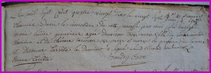 TARISIEN Marie-Louise Geneviève 3ms dcd 27.06.1790