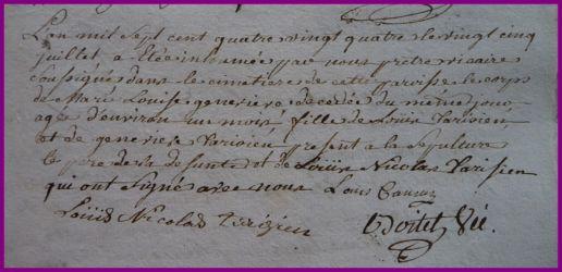 TARISIEN Marie-Louise Geneviève dcd 25.07.1784