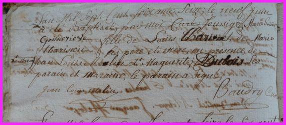 TARISIEN Marie-Louise Geneviève née 09.06.1776