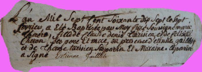 TARISIEN Marie-Thérèse née 07.02.1777