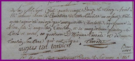TARISIEN Mort-né le 13.04.1792