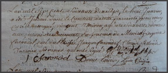 TARISIEN Vincent 1704-dcd 08.01.1777