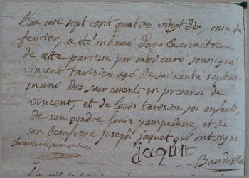 TARISIEN Vincent 67 ans dcd 11.02.1790