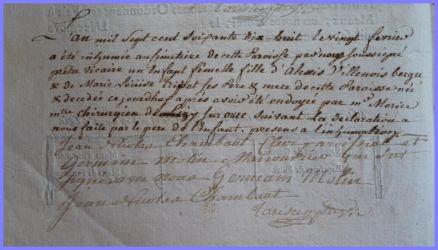 VILLENOY Mort-née 20.02.1778
