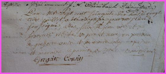 VOL Céline née 23.07.1778