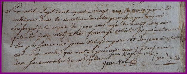 VOL Jean dcd 30.06.1785
