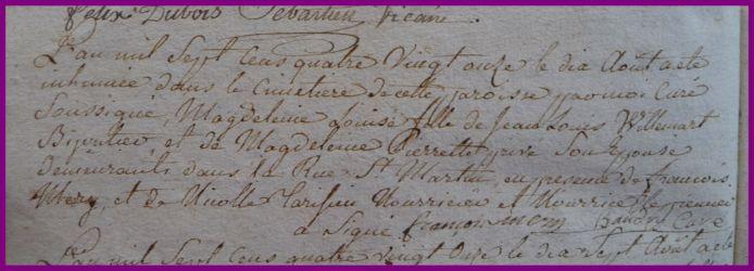 WILLEMART Magdelaine dcd 10.08.1791 en nourrice