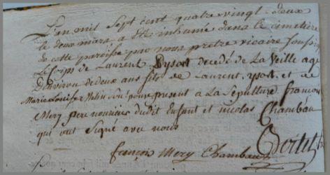 YSORT Laurent 2 ans dcd 02.03.1782